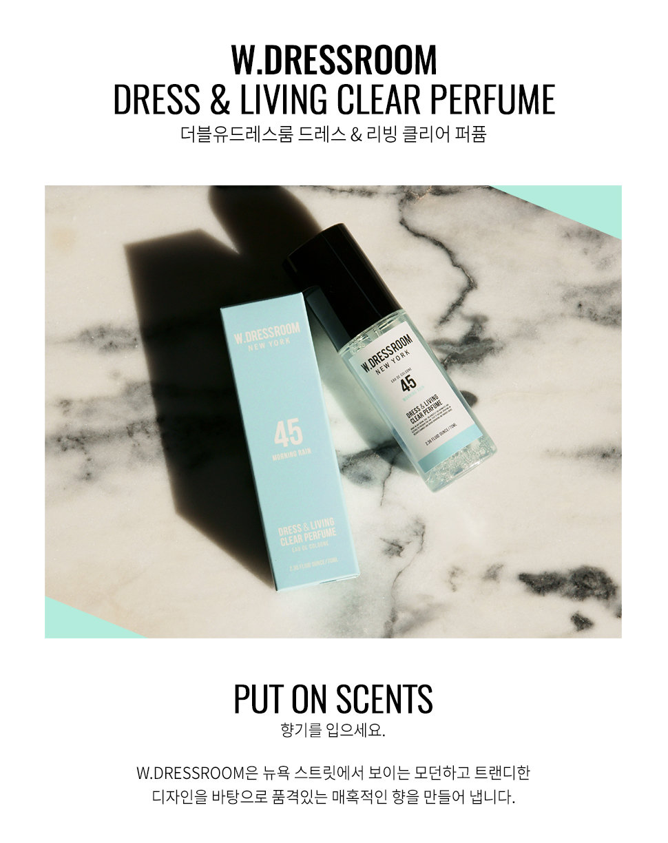 You may also like. Photo. Description. DESCRIPTION Brand: W. Dressroom Product: W. Dressroom Dress & Living Clear Perfume #45 Morning Rain 70ml
