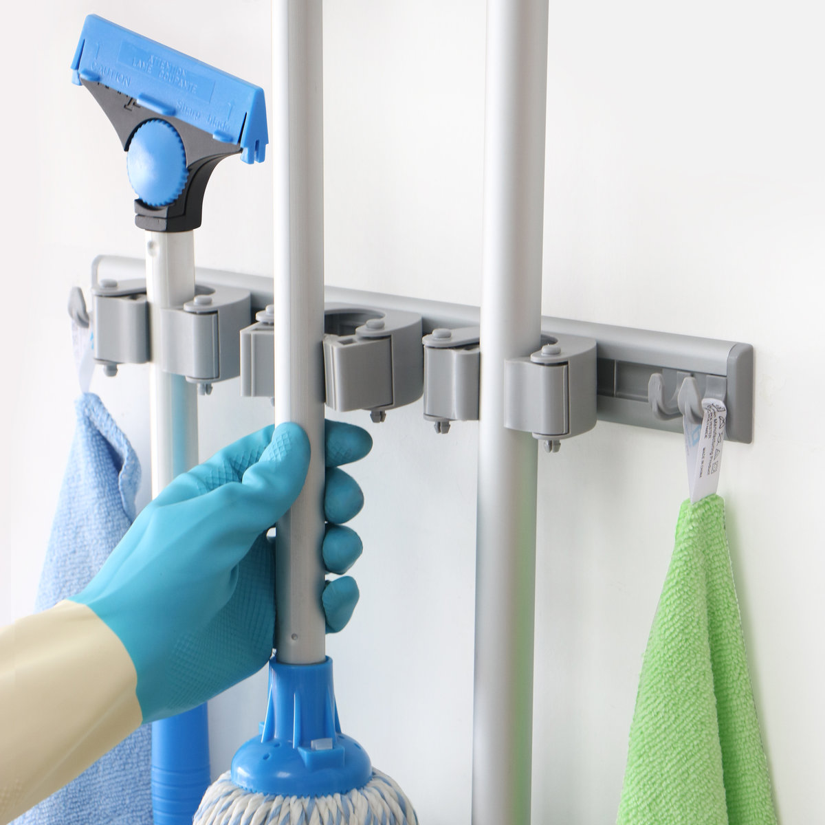 Mop and Broom Holder, wall mounted, drilling free