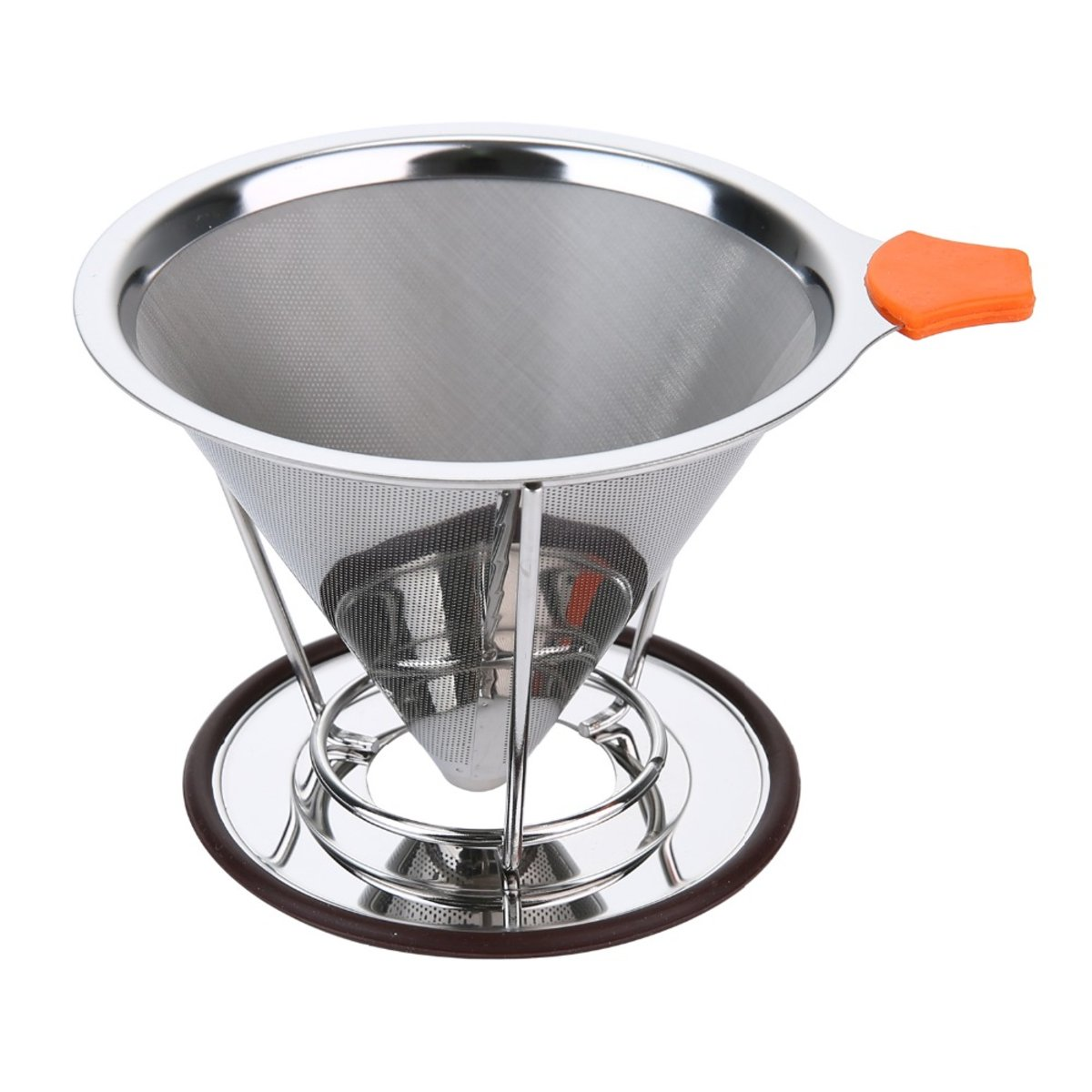Reusable Stainless Steel Pour Over Coffee Filter Cone Coffee Dripper Coffee Maker Stand for 1-4 cups