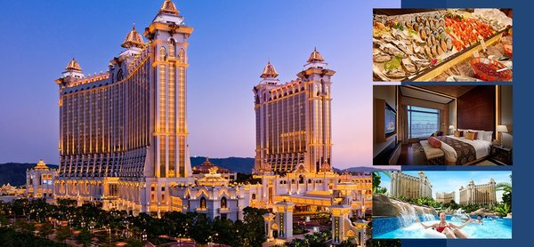 1 Night Stay at Galaxy Hotel Macau (Share Half Room) + Galaxy Macau Festiva Lunch Buffet + Grand Resort Deck 1-day Pass for 1 Pax