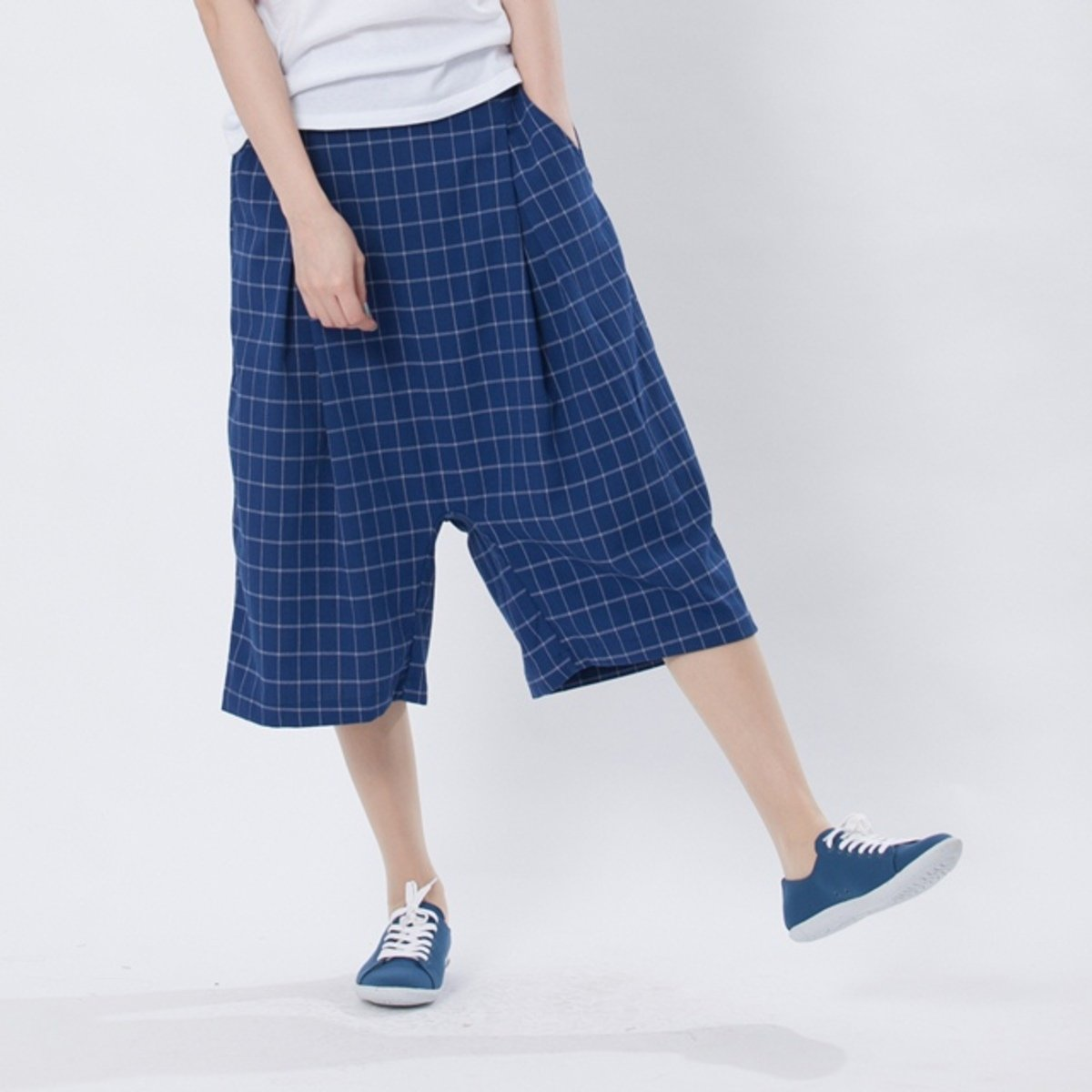 Gary wide pants / blue lattice